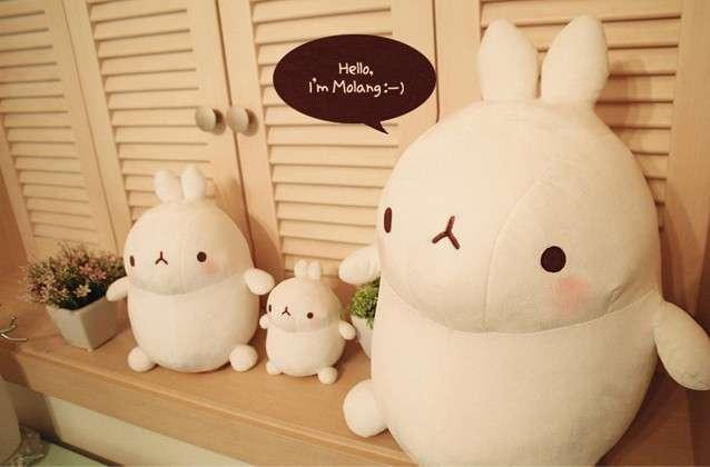 包邮韩国土豆兔小白兔molang玩偶布娃娃大号公仔毛绒