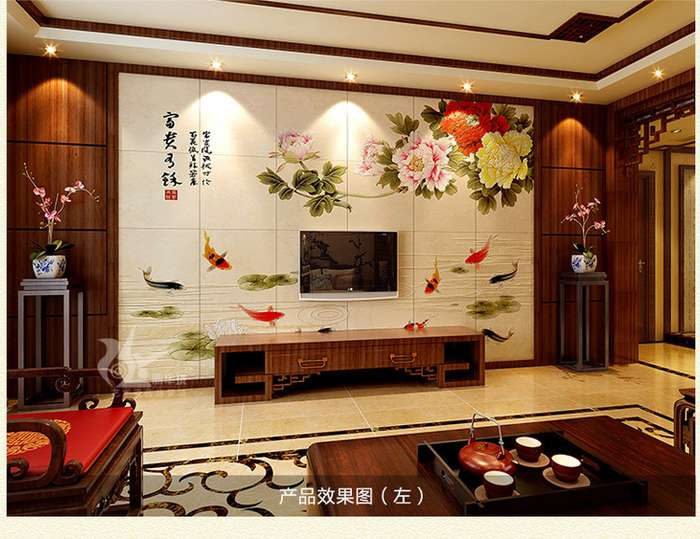 客厅实木雕刻壁画