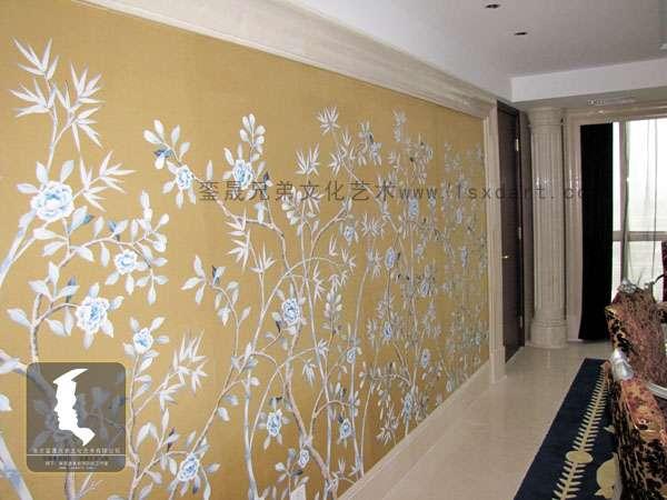 手绘丝绸壁纸,主题酒店墙体绘画_常州装修装饰_化龙巷