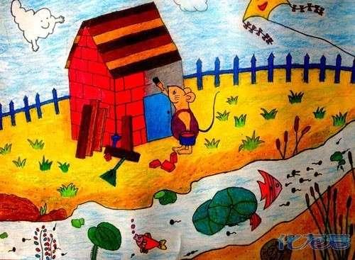 水粉画动物 线描初步写生 童画提高班:线描临摹 线描写生 重彩油画棒图片