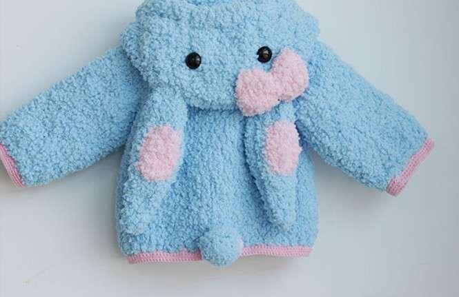 手工编织超厚绒绒线宝宝手工毛衣(粉蓝兔子) - [举报]