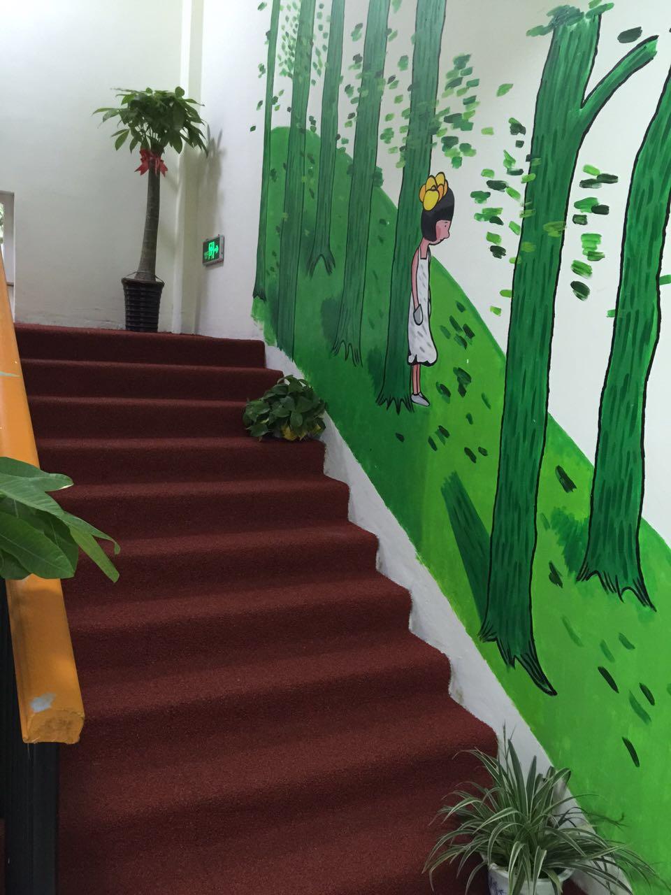 幼儿园老师作品墙面创意水粉画