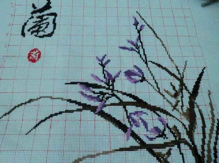大幅梅兰竹菊十字绣_常州艺术品/收藏品