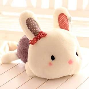 蓝白玩偶可爱趴趴兔公仔毛绒玩具小兔子布娃娃车内趴