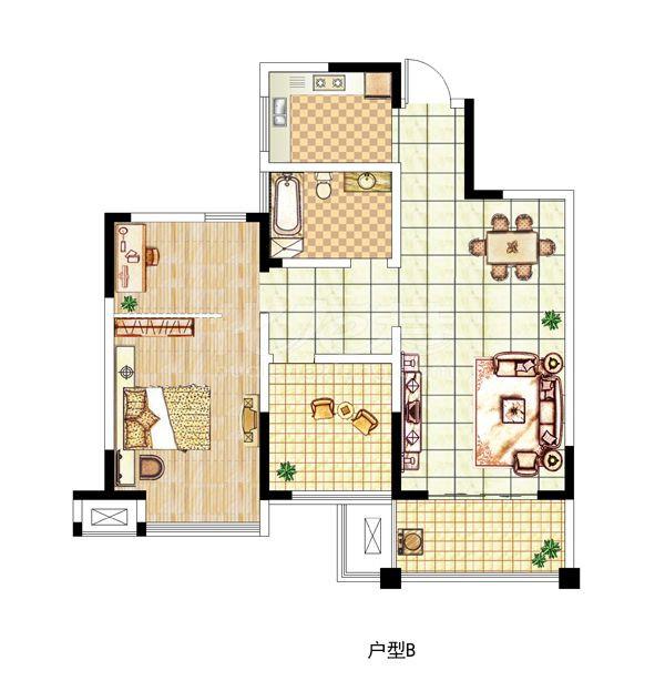 B户型二室一厅一卫,约90.7平米