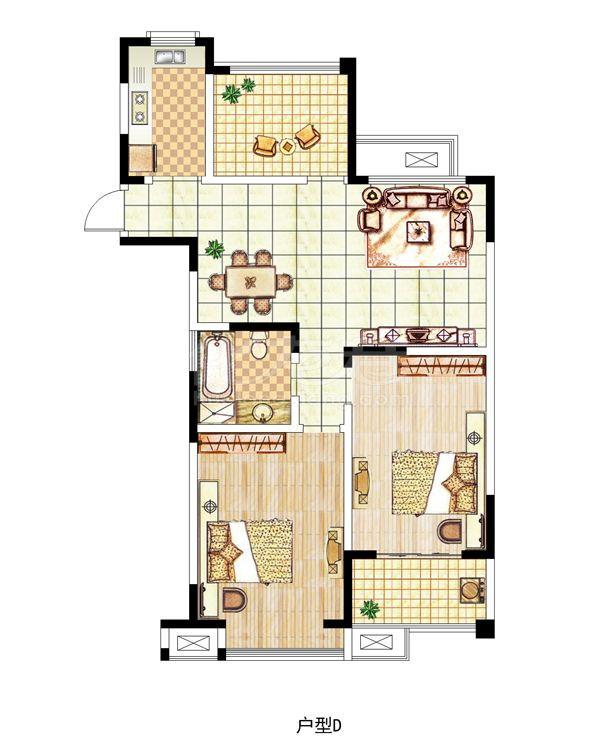 D户型三室一厅一卫,约110平米