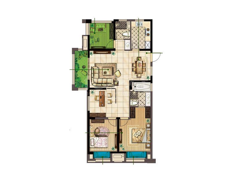 A户型 两房两厅两卫 125㎡