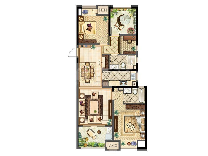 C 115平4房2厅2卫