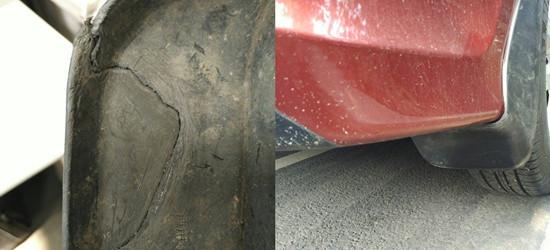 自己动手修补汽车后挡泥板,修好后和新的一样
