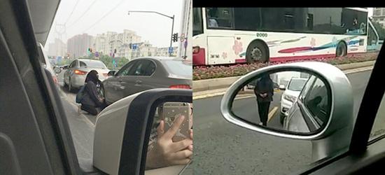 常州街头黑衣蒙面女竟在机动车道上跪地乞讨!