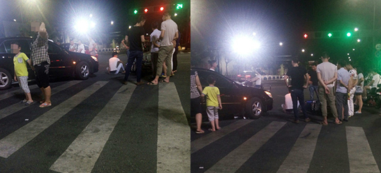 现场图片:武进万达南侧汽车与电动车发生碰撞!男子坐地上