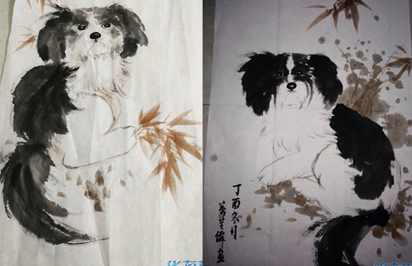 画了几幅水墨画的狗送给大家,希望给朋友们带来一整年的福气