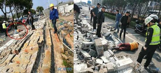 昨日常州溧阳一小区围墙突然倒塌,一环卫女工人竟被压墙下