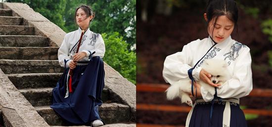 绝代有佳人,幽居在青枫!穿上汉服和旗袍,抱上小狗去拍照