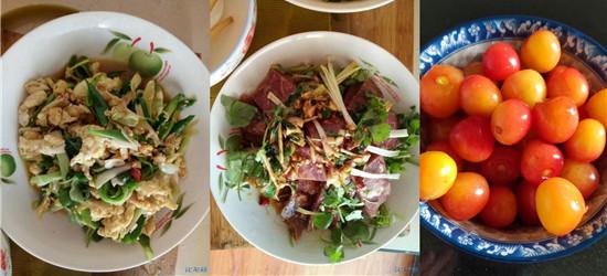 午餐来一波:凉拌驴肉、昂公豆腐汤、葱炒鸡蛋、再来个樱桃