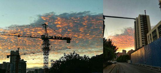 真正感觉到秋高气爽了,特别是清晨的朝霞,美得令人心醉啊!
