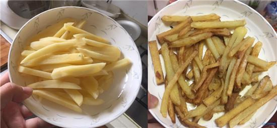 昼饭之一,薯条!自己在家把土豆切成条状的,放在油锅里炸