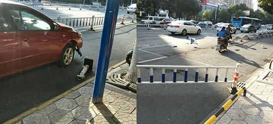 兰陵路口护栏被撞得支离破碎,所幸没人伤亡