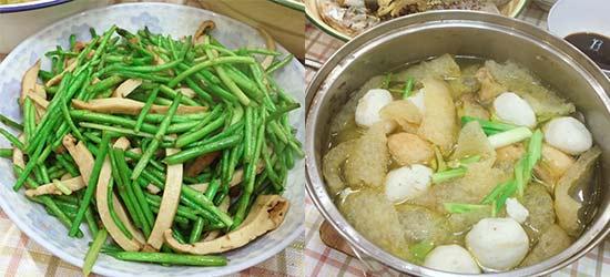 小年夜晚饭,三鲜鱼圆汤,清炒芦蒿,芦蒿要20多块钱一斤