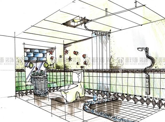 田园厨房手绘图