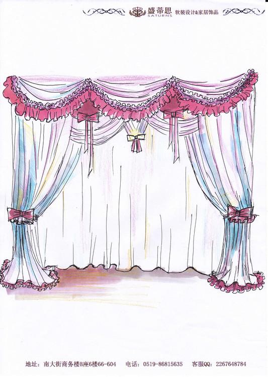 窗帘手绘效果图展示
