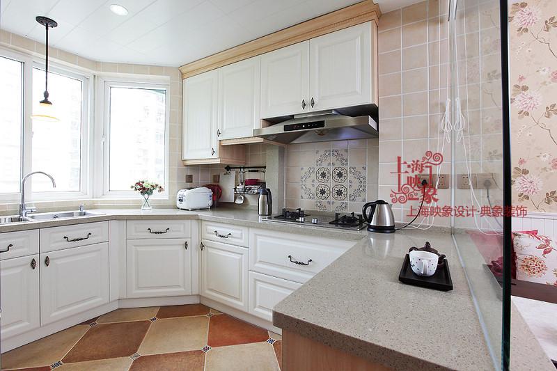 素锦雅韵;; 观山名筑-现代美式-二居室; 现代欧式l型厨房壁柜图片欣