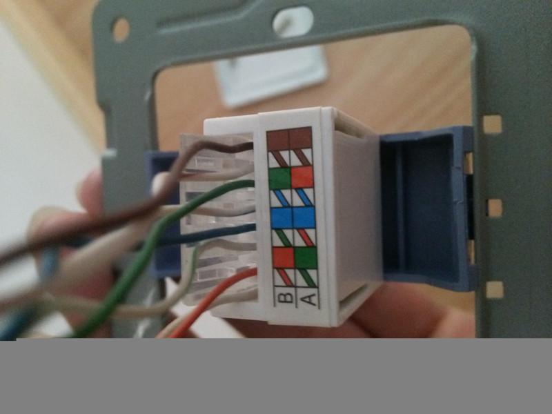 家装网络面板网线该如何接线,宽带进线水晶头接法如下