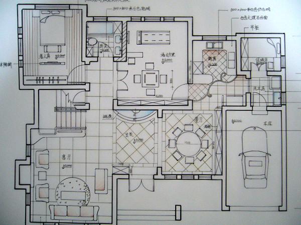 纯手绘别墅设计:美式美家,大方自然,怀旧又不失温馨.