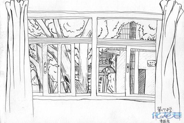 窗外的风景:学生钢笔速写校园一景.都能看出是哪吧?