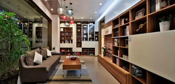 (029胡桃木 905奶白板)书柜,电视柜套间
