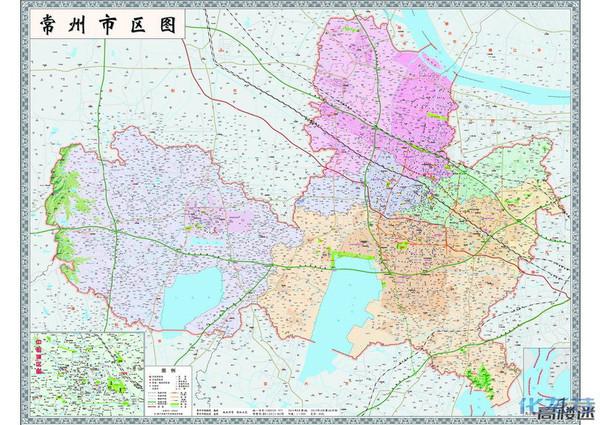 最新版常州市区地图,湖塘,西太湖都变常州正中心了.